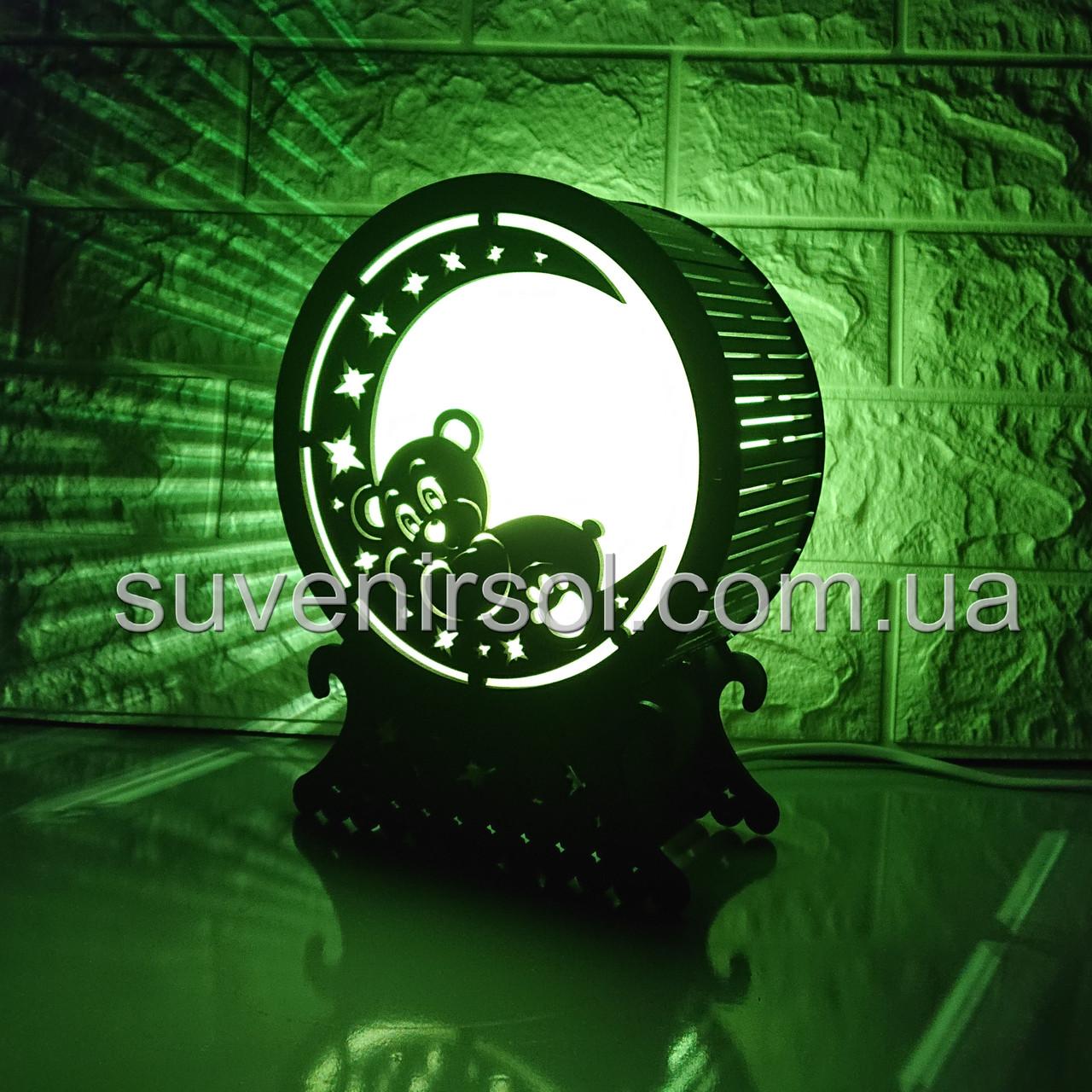Соляной светильник Шар 2 Мишка на луне