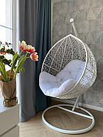 Кресло кокон из ротанга белый + голубая подушка