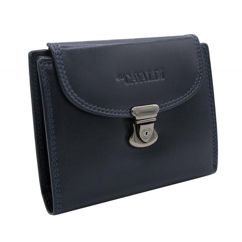 Женский кожаный кошелек маленький синий Cavaldi RD-19 GCL blue