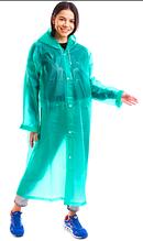 Плащ-дождевик длинный для взрослых на кнопках многоразовый Zelart EVA Зеленый