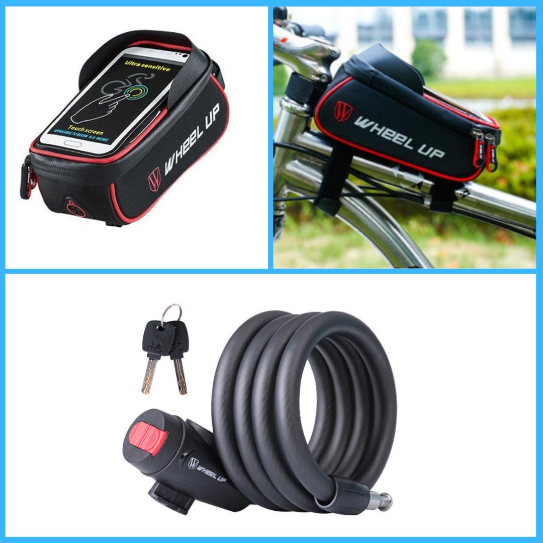 Комплект Велосумка на раму + Замок тросовый (ВС-103+ВЗШ-113)