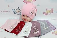 Шапки для дівчат з бусинами 48-50 см, Опт. Україна