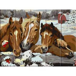 Картина по номерам на дереве Лошади, 30x40 см., Art Story
