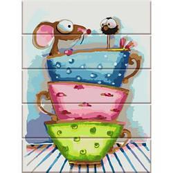Картина по номерам на дереве Сказочные чашки, 30x40 см., Art Story