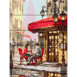 Картина по номерам на дереве Уличное кафе, 30x40 см., Art Story