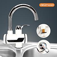 Проточный кран водонагреватель Delimano для кухни 3 кВт с дисплеем