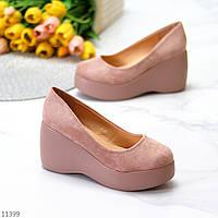 Элегантные женственные розовые пудра замшевые женские туфли на танкетке