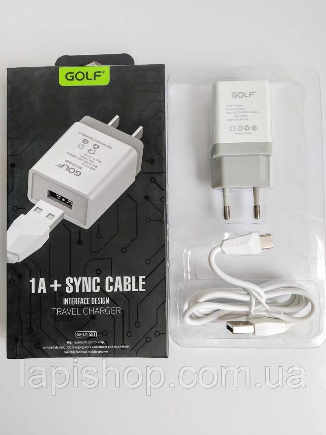 Мережевий зарядний пристрій GOLF GF-U1 Travel charger + Type-C cable 1USB 1A білий