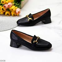 Люксовые черные женские туфли на низком каблуке в ассортименте