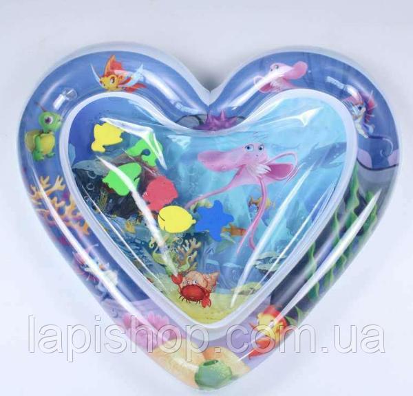 Развивающий игровой детский водный надувной коврик с рыбками акваковрик сердце