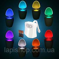 Подсветка для унитаза LED  светильник ночник с датчиком движения 7 цветов, фото 5