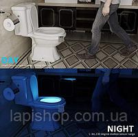 Подсветка для унитаза LED  светильник ночник с датчиком движения 7 цветов, фото 7