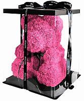 Медвежа зі штучних 3D троянд в подарунковій упаковці 25 см рожевий, фото 2
