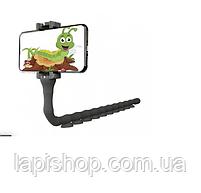Гнучкий тримач для телефону з присосками Cute Worm Lazy Holder чорний, фото 2