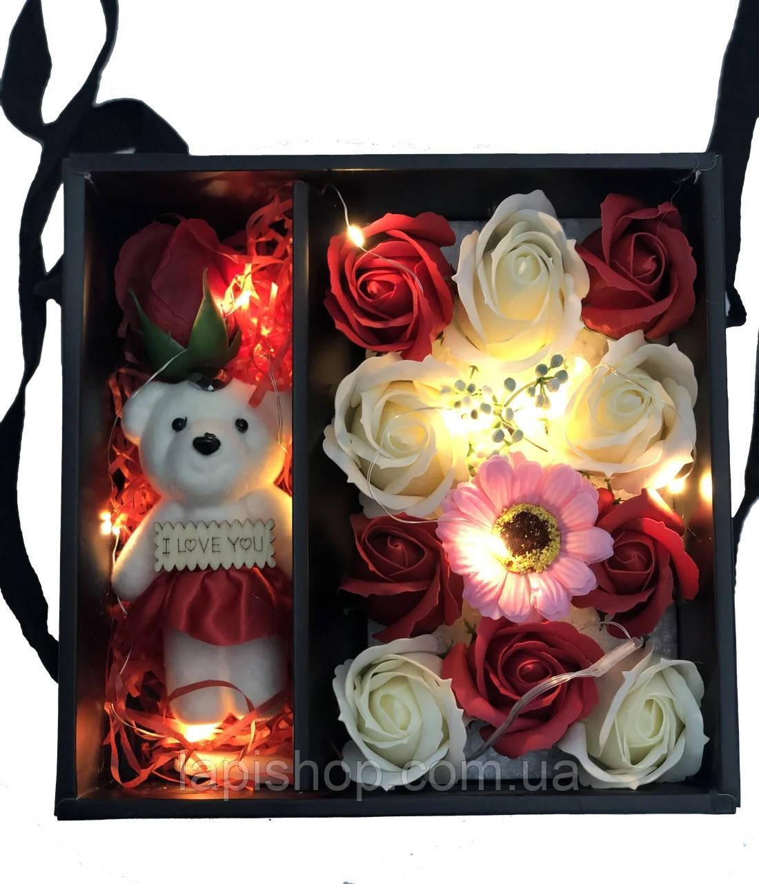 Подарочный набор I Love You с мишкой и мыла из роз XY19-79