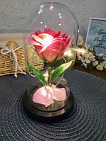 Роза в колбе с LED подсветкой большая розовая №A78, фото 2
