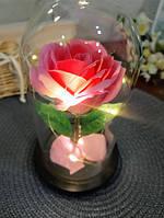 Роза в колбе с LED подсветкой большая розовая №A78, фото 3