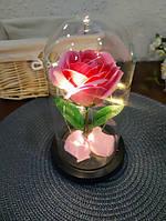 Роза в колбе с LED подсветкой большая розовая №A78, фото 4