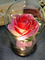 Роза в колбе с LED подсветкой большая розовая №A78, фото 5