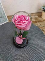 Роза в колбе с LED подсветкой большая розовая №A78, фото 8