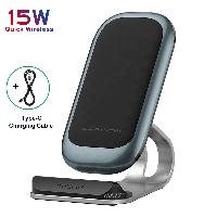 Беспроводное зарядное устройство 15W Fast Charger быстрая зарядка подставка держатель для телефонов смартфонов, фото 1