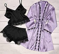 Шелковый комплект халат и пижама с кружевом 090-095.