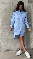 Женское голубое платье-рубашка, фото 1