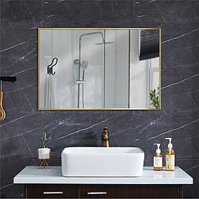 Зеркало в алюминиевой раме для ванной комнаты 400х600 мм золотого цвета пр. Украина