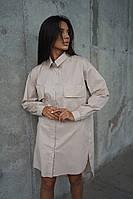 Женское бежевое платье-рубашка, фото 1