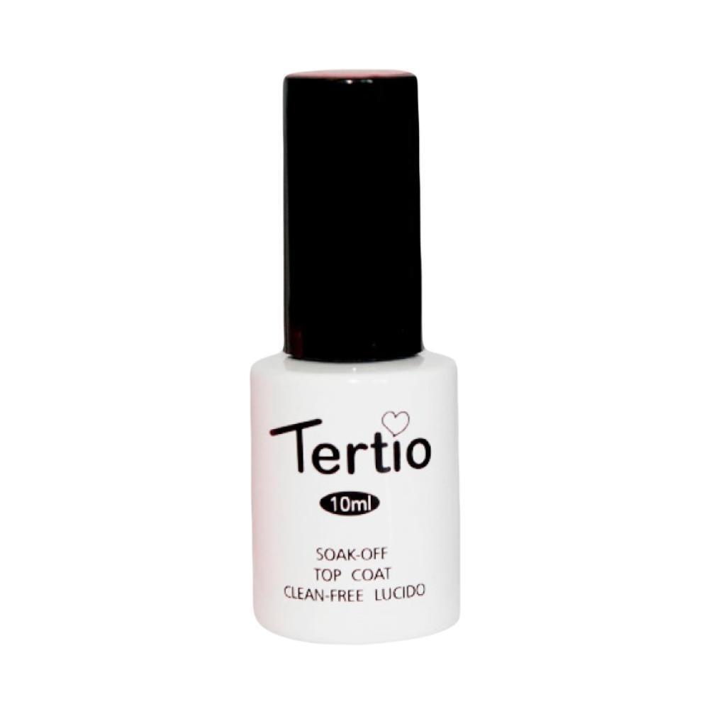 Топ без липкого шару Tertio, 10 мл (Soak-off top coat clean-free lucido)