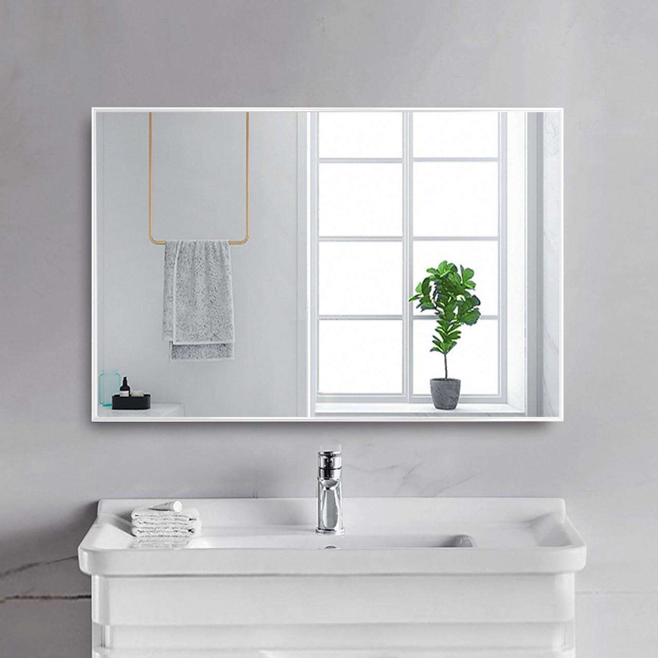 Зеркало в алюминиевой раме для ванной 700х500 мм  белого цвета пр. Украина