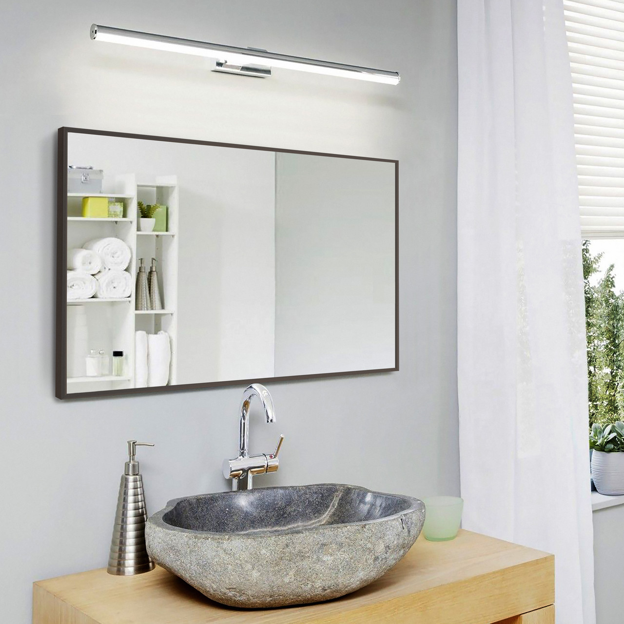 Зеркало в алюминиевой раме многоцелевое 700х500 мм коричневого цвета пр. Украина