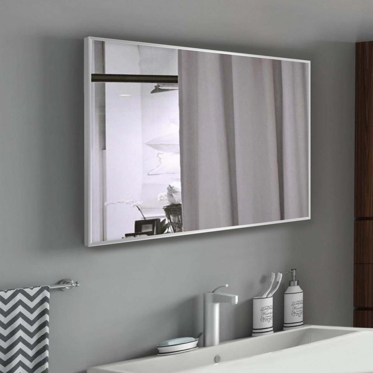 Дзеркало в алюмінієвій рамі вологостійкий 700х500 мм сірого кольору пр. Україна
