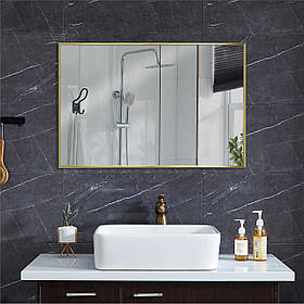 Зеркало в алюминие 700х500 мм золотого цвета пр. Украина