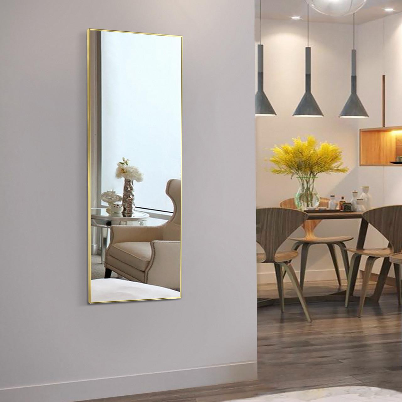 Зеркало в раме из алюминиевого профиля 1200х600 мм золотого цвета пр. Украина