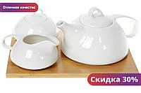 "Чайный набор Naturel: чайник 800мл, молочник 260мл и сахарница 300мл на бамбуковой подста ""Kg"""