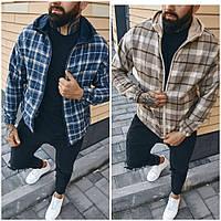 Мужская байковая куртка-рубашка в клетку