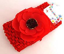 Пов'язка на голову дитяча Fashion з квіткою 7 см, червона