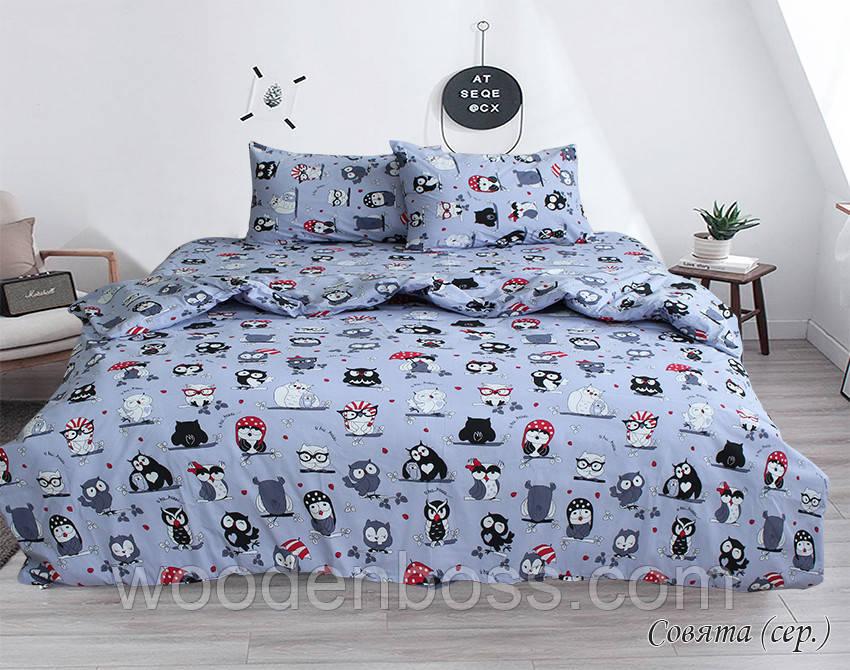 ТМ TAG Комплект постельного белья Совята (серый)