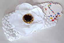 Пов'язка на голову дитяча Fashion з квіткою 7 см, біла