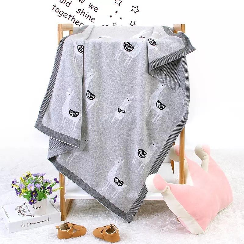 Плед Lovely Svi Дитячий В'язаний Бавовна - Покривало - Плед 80 на 100 см Лама