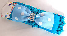 Пов'язка на голову дитяча Fashion з бантиком 4,5 см, блакитна