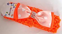 Пов'язка на голову дитяча Fashion з бантиком 4,5 см, помаранчева