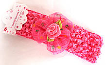 Пов'язка на голову дитяча Fashion з квіткою 4,5 см, малинова