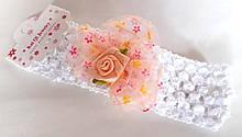 Пов'язка на голову дитяча Fashion з квіткою 4,5 см, біла