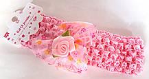 Пов'язка на голову дитяча Fashion з квіткою 4,5 см, рожева