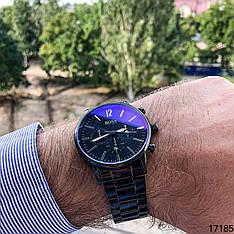 Часы мужские кварцевые черные наручные в стиле Boss с датой   Часы металлические на подарок