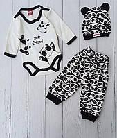 """Боді зі штанишками для новонароджених """"Панда"""" 3-6-9 мес. Опт"""