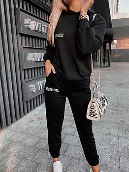 Спортивний костюм жіночий з двунити Написи з капюшоном (Норма)