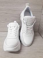 Белые женские кроссовки из натуральной кожи. Білі жіночі шкіряні кросівки.